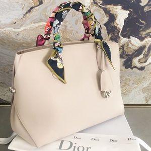 Christian Dior Large Bar Leather Handle Tote Bag